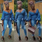 Towani Chambray Soft Denim Wrap Top With Exaggerated Puff Sleeves Size X to -3XL