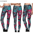 Women YOGA Skull Rose Printed Sports Pants Leggings Fitness Stretch Trousers New