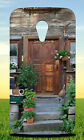 BROWN WOODEN DOOR NEAR GREEN PLANT HARD BACK CASE FOR MOTOROLA PHONES