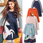 Princess Girls Clothes Long Sleeves Baby Kids Dress Jersey Animal Print Dresses