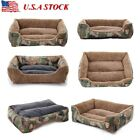 Pet Dog Cat Bed Soft Kennel Puppy Camo Cushion House Warm Durable Dog Mats Pad