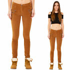 New Ladies Womens Light Brown Stretch Cords Slim Skinny Corduroy Trousers Jeans