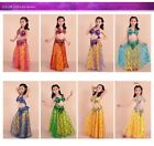 Belly Dance Indian Costume Oriental Top Skirt Outfit Carnival Halloween Children