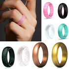 Colorful Unisex Bling Silicone Ring Flexible Rubber Wedding Band Men Women Gifts