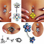 Beauty Crystal Flower Navel Ring Belly Button Rings Dangle Pendant Body Piercing