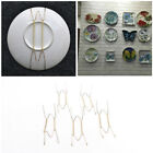 5x Plate Wire Hanging White Hanger Flexible With Spring Wall Display Art DecorES