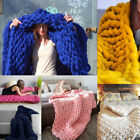 Colorful Hand Chunky Wool Knitted Blanket Thick Yarn Wool Bulky Knitting Blanket image