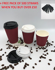 RED RIPPLE TRIPLE WALL PAPER CUPS COFFEE 8/12/16oz Disposable LIDS Hot Drinks