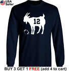 GOAT Long T-Shirt Tom Brady 12 New England Patriots Greatest of all Time Jersey