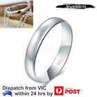 Sterling Silver Ring High Polish Plain Dome Comfort Fit Wedding Band 4mm