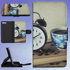 ALARM CLOCK BLACK COFFEE BOOK CAFFEINE FLIP WALLET CASE FOR APPLE IPHONE PHONES
