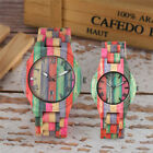 Creative Couple Wooden Watch Unique Watches Colorful Bamboo Wristwatch Bracelet image