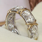 EP_ Full Cubic Zirconia CZ Cross White Gold Plated Ring Lady Wedding Jewelry Lat