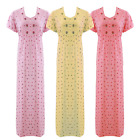 Womens Cotton Lace Long Nightdress Ladies Nighty Chemise Embroidery Detailed 8-2
