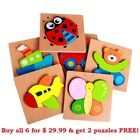 Preschool Teaching Wooden Children's Primary Color Puzzles Buy 1 or 6 ADORABLE!
