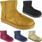Womens Ankle Faux Suede Fur Boots Ladies Fashion Casual Pull On Comfy Shoes Size