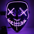 3 Modes Cosplay Led Costume Mask Wire Light Up The Purge Movie Scary Mask