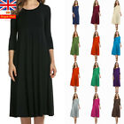 Uk Women Long Sleeve Maxi Dress Casual Plain Loose Baggy Holiday Tunic Dress
