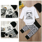 US Funny Star Wars Kid Newborn Baby Boy Top Romper Long Pants Hat Outfit Clothes