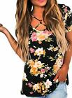 Dokotoo Womens Casual Summer Floral Print Crisscross Cotton