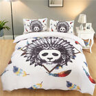 3D Colourful Feather Panda Quilt Cover Bedding Set Comforter Cover Pillow Case