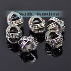 5pcs Charms Large Hole Alloy+Rhinestines Loose Spacer Beads European Bracelet
