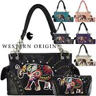 Embroidered Elephant Western Concealed Carry Purse Women Country Handbag Wallet