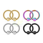 2-8pcs Surgical Steel Captive Bead Ring Nose Tragus Lip Ear Piercing Jewellery