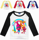 Lovely Girls Kids Trolls Cartoon Casual Long Sleeve T-shirt Spring Fall Costumes image