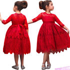 Kids Pleated Flower Lace Baby Girl Princess Dress Birthday Wedding Party Pageant