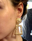 NEW STATEMENT METAL CHUNKY MOTTLED GEOMETRIC EARRINGS COLOURS  - UK SELLER