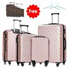 Luggage Travel Set Bag ABS Trolley 360° Spinner Carry On Suitcase w/Lock+Covers