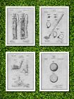 Golf Patent Poster Prints - Set of 4 - Unframed