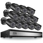 ZOSI 16CH H.265+ HDMI DVR 1080P Outdoor Home Surveillance Security Camera System