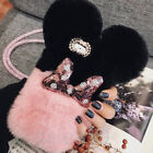 Christmas gift Soft Stitching rabbit fur plush ball PC Case Cover For Cell Phone