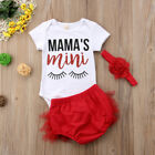 US STOCK 3pcs Newborn Infant Baby Girl Outfits Clothes Romper Bodysuit Pants Set