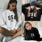 Womens USA Letter Print Hoodie Sweatshirt Pullover Sweater Jumper Casual Tops