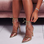 Внешний вид - Cape Robbin ACTRESS Gold Clear Lace Up Ankle Cuff Pointy Toe Stiletto Heel Pump
