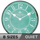 Aqua & White Wall Clock Whisper Quiet Battery Operated  Non Ticking Silent