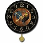 Black & Wood Pattern Rooster Pendulum Wall Clock Ultra Quiet Classical Home Deco