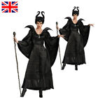 UK Ladies Movie Maleficent Costume Christening Gown Wicked Witch Queen Outfit