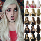 Full Wig Natural Looking Long Straight Wavy Wigs With Fringe Heat OK Hair Wig Pu