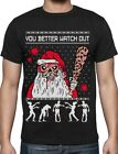 Ugly Christmas Sweater Zombie Walker Scarys and Dead Santa T-Shirt