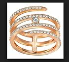 Nib 129 Swarovski Coiled Creativity Ring Rose Gold Size 526 557 588 609