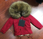 Kid Real Raccoon Fur Removable Collar Coat Winter Warm Outerwear -Christmas Gift