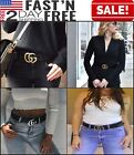 Women G-Style Gold Buckle Leather Slim Belts Gucci Logo Pattern For Jeans 3.2cm