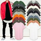 Mens BASIC HIPSTER T Shirts Casual Extended Longline Back Hip Hop Hemline Tee