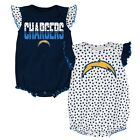 """Los Angeles Chargers NFL Infant Navy/White """"Polka Fan"""" 2 Piece Creeper Set $10.39 USD on eBay"""