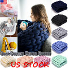 US Blanket Merino Wool Chunky Knit Blanket Chunky Arm Worm Throw Knitted Blanket image