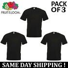 PACK OF 3 Fruit Of The Loom Plain Mens Black T Shirt S to XL Blank T-Shirt Tee image